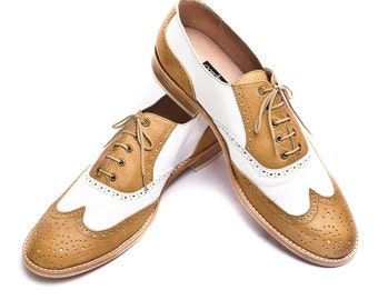 Honey Brown and white oxford brogue shoes - FREE WORLDWIDE SHIPPING