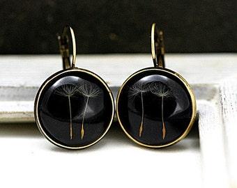 Real Dandelion Earrings - Make A Wish. Dried dandelion seeds in resin on black background. Dandelion jewelry for her.