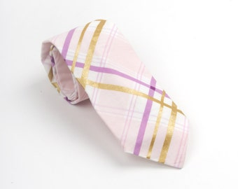 Mens Necktie, purple plaid tie, purple and gold tie, purple groom's tie, purple plaid necktie, men's purple tie, purple & gold plaid necktie
