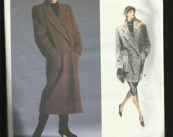 Vintage 1987 Vogue 1935 Designer Perry Ellis Double Breasted Coat with Large Notched Collar Size 10