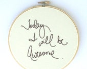 Cream home decor / Today I will be awesome / Hoop art humor quote / Purple embroidery / gift idea for kids