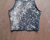milky way sky dyed black cotton/poly cropped tank top active wear american apparel yoga wear hand dyed one of a kind tie dye reverse dye