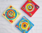 Trio of Circles, Small abstract paintings, Mixed media on wood panel