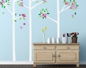 Birch Tree Decals with Flowers, REUSABLE Fabric Decal, Kids Tree, Nontoxic PVC free Ecofriendly Decal, 662