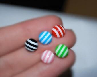 Striped Earrings -- Tiny Striped Earrings, Striped Studs