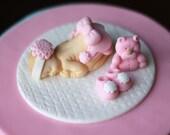 Baby shower cake topper Fondant Baby Christening Baptism fondant First birthday fondant topper - Fondant Baby Cake Topper Set