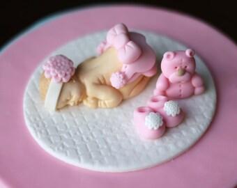 Fondant Baby Christening Baptism fondant First birthday fondant topper - Fondant Baby Cake Topper Set