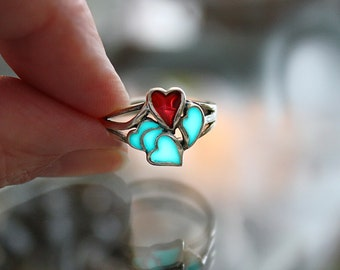 Sterling Silver HEARTS ring GLOW in the DARK