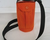 Water Bottle Holder Sling//Walkers Insulated Water Bottle Cross Body Bag// Hikers Water Bag-Solid hunter orange fabric
