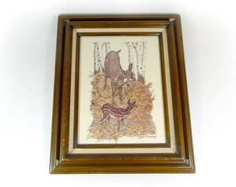 Vintage Deer Art Print Lithograph Framed Artwork  GENE MURRAY Pen and Ink Print Woodland Wildlife