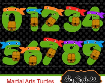 INSTANT DOWNLOAD Turtles that are ninjas clipart numbers clip art for scrapbooking or invitations