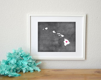 Hawaii Chalkboard State Map Customizable Art Print. Hawaii Map Art.