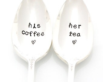 His Coffee, Her Tea, Stamped Spoons by Milk & Honey. Couple's Gift Idea Under 25. Stamped Coffee and Tea Spoon.