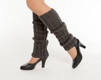 SALE--Charcoal Knit Leg Warmers, Crocheted Leggings, Handmade Women's Warm, Soft, Winter Accessory, Dance Wear, Exercise, Ballet, 80's Style