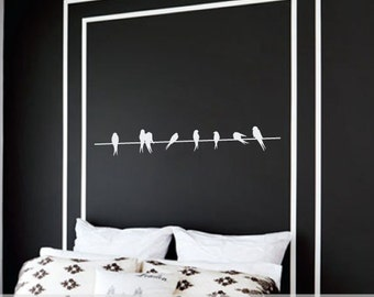 Birds on a Wire Vinyl Wall Decal - Lovebirds - Nursery Wall Decal - Home Decor - Sparrows - Modern Wall Art - CHOOSE COLOR - 36""