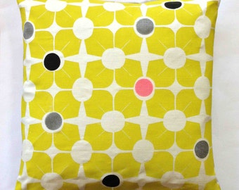 Breeze Block - Handmade Block Printed Linen Cushion / Pillow - Chartreuse