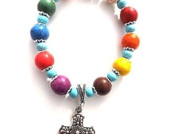 Christian Cross Bracelet, Multicolored Beads, Talavera Cross Bracelet, Colorful Jewelry, Fiesta Bracelet, Women's Christian Bracelet, Mother