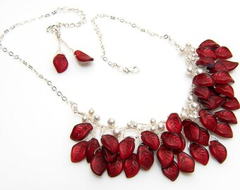 White and Red Bib Necklace, Red Beaded Necklace, Red Leaf Necklace, Bridal Necklace, Nature Jewelry, Holiday Jewelry, gift for her