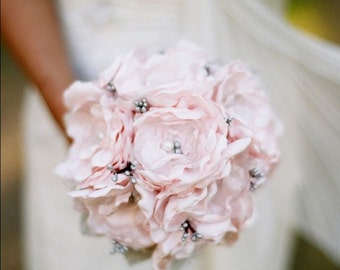 Pink Bridal Bouquet, Pink Bouquet, Grey Bouquet, Wedding Bouquet, Bridesmaid Bouquet, Flower Bouquet, Pink Grey Bouquet Gray