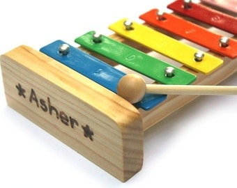Personalized Xylophone - Montessori Wood - Waldorf Music Toys - Wooden Toys - Personalized Instrument