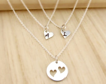 Personalized Mother Daughter Necklace Set in Sterling Silver - Mothers Day Gift - Mother Daughter Gift - Initial Necklaces - Initial Hearts
