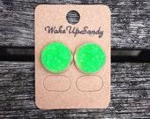 Sparkly Druzy Studs, Neon green earrings, druzy earrings, druzy stud earings, green druzy studs, faux druzy earrings, silverplated earrings
