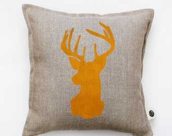 Reindeer head pillow cover - gray linen - decorative covers - throw pillows - shams 14x14/16x16/18x18/20x20   0115