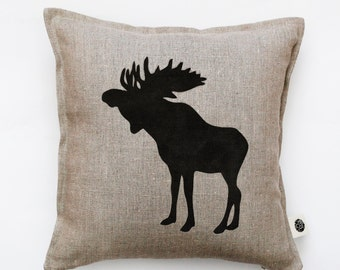 Moose throw pillow cover - decorative pillow - moose pillow - moose cushion - deer throw pillow - linen pillows case  0118