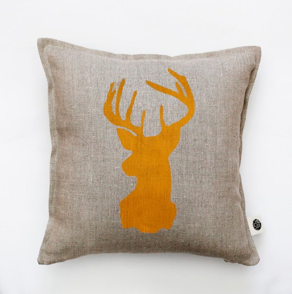 Decorative Pillows With Deer : Holiday pillow deer head pillows linen cushion deer