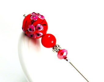 HAT PIN  beaded women's scarf stick, hatpin, Chinese red and black black jewelry