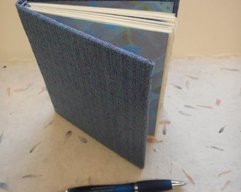 """SALE .... Hand-made blank book with woven cloth cover & marbled endpapers: """"Weaving Words"""".  Journal, diary or memory book"""