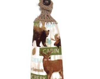 Cabin - Hunting - Bear- Moose - Deer - Hanging Kitchen Towel - Crochet Top - Button Towel