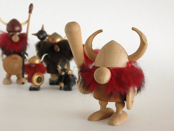 Vintage Teak Viking Figurine Scandinavian Decor Oslo