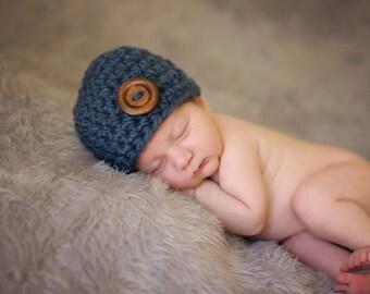 Newborn Boy Hat Newborn Baby Boy Hat Denim Blue Baby Hat Wood Button Newborn Photo Prop Photography Prop Baby Boy Gift Hospital Hat Baby Cap