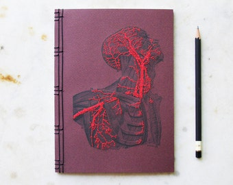 Anatomy Journal. Embroidered Notebook. Anatomy Notebook. Science Art Journal. Anatomical Journal. Gift for Doctor. Medical Art. Medicine Art