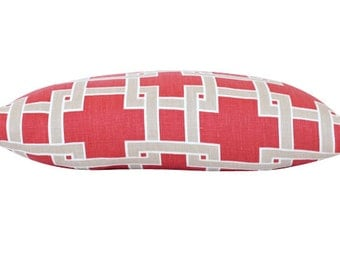 Red City Square Geometric Lumbar Pillow Cover- Both Sides