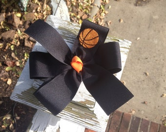 Monogrammed Embroidered Basketball Pinwheel Style Hair Bow