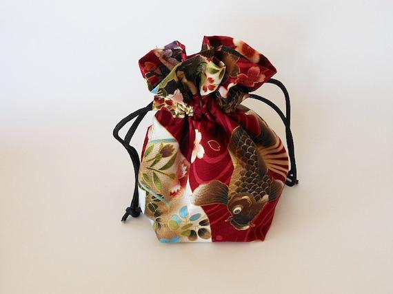 Drawstring makeup bag red koi fish design japanese fabric for Koi fish purse