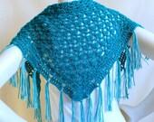 Aegean BlueTriangle Scarf: Aqua Scarf with Fringe, Blue Baktus, Fringed Shawl, Crochet Scarf, Handmade Tea Shawl, Ready to Ship