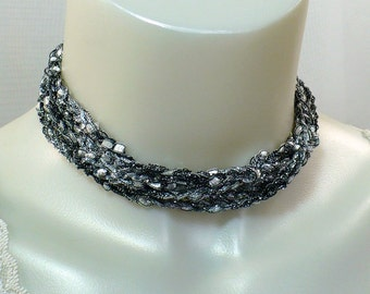 Black and Silver Ladder Yarn Necklace - Crocheted Ribbon Necklace, Fiber Jewelry, Vegan Necklace, Yarn Jewelry, Ready to Ship