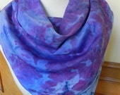 Abstract floral hand dyed violet, blue and teal silk scarf, large square silk scarf is ready to ship, #371