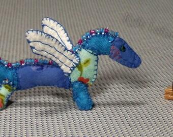 Mini Patchwork Dragon No. 14 - Dollhouse Miniature Stuffed Animal - Artisan OOAK
