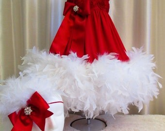 2T Red Rosette Feather Dress & Matching Headband, Pageant Dress, Flower Girl Dress, Birthday Dress, Special Occasion Dress, Photo Prop