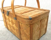Vintage  Woven Wood Basket. Picnic. Shabby Chic Cottage Decor. Storage. Craft&Sewing Basket