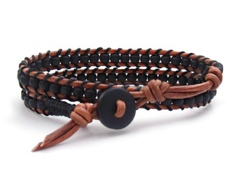 Matte Black Leather Double Wrap Bracelet Mens Leather Braclet Womens Bracelet Southwestern Hipster Western Rustic