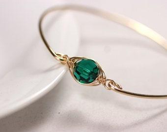 Gold Emerald Bracelet Wire Wrapped Jewelry Handmade Green Swarovski Bangle Bracelet Gold Bracelet Swarovski Crystal Jewelry Gold Jewelry