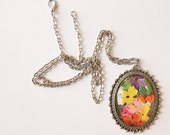 Pendant Necklace / Statement Jewelry / Wholesale / Silver Chain / Long Necklace / Stocking Stuffer / Bridesmaid Gifts / Vintage Print