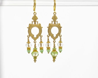 Czech glass green and gold chandelier earrings