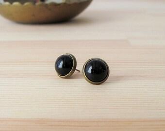Black Cabochon Earrings - Antique Brass Post Earrings