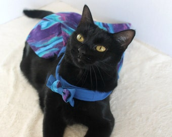 Blue Dress for Cat with Abstract Style